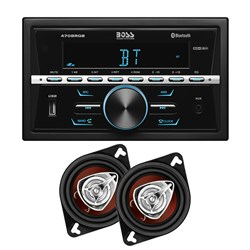 "Boss Audio 470BRGB Kit - AM/FM/BT Stereo & Pair of CH3220 3.5"" Speakers - Black"