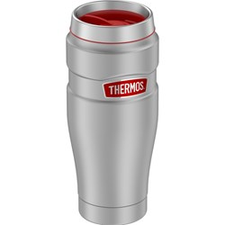 Thermos 16oz Stainless Steel Travel Tumbler - Matte Steel w/Red Badge - 7 Hours Hot/18 Hours Cold
