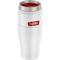 Thermos 16oz Stainless Steel Travel Tumbler - Matte White w/Red Badge - 7 Hours Hot/18 Hours Cold